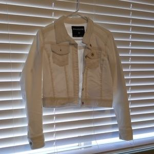 Maurices crop white denim jacket